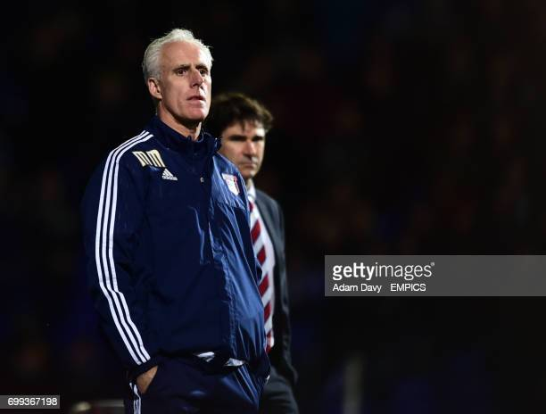 Ipswich Town's Manager Mick McCarthy and Middlesbrough's Manager Aitor Karanka watch the game