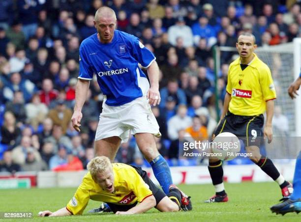 Ipswich Town's Matt Elliott challenges Watford's Heider Helguson during their Nationwide Division One match at Portman Road THIS PICTURE CAN ONLY BE...
