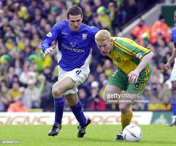Ipswich Town's Tommy Miller tackles Norwich City's Gary Holt during the Nationwide Division One game at the Carrow Road ground Norwich THIS PICTURE...