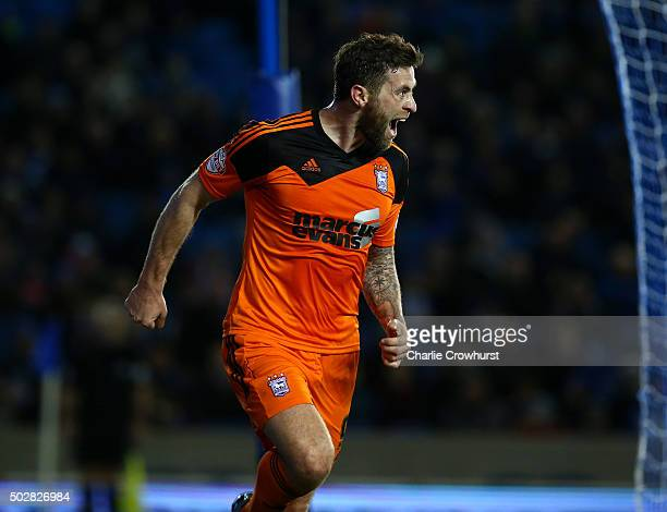 Ipswich's Daryl Murphy celebrates after scoring the first goal of the game during the Sky Bet Championship match between Brighton and Hove Albion and...
