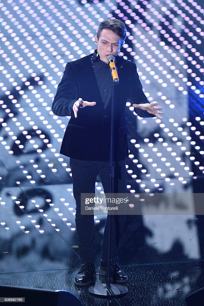 Irama attends second night of the 66th Festival di Sanremo 2016 at Teatro Ariston on February 10, 2016 in Sanremo, Italy.