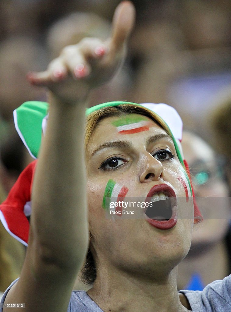 Iran fan supports her team during the FIVB World League Final Six match between Brazil and Iran at Mandela Forum on July 18, 2014 in Florence, Italy.