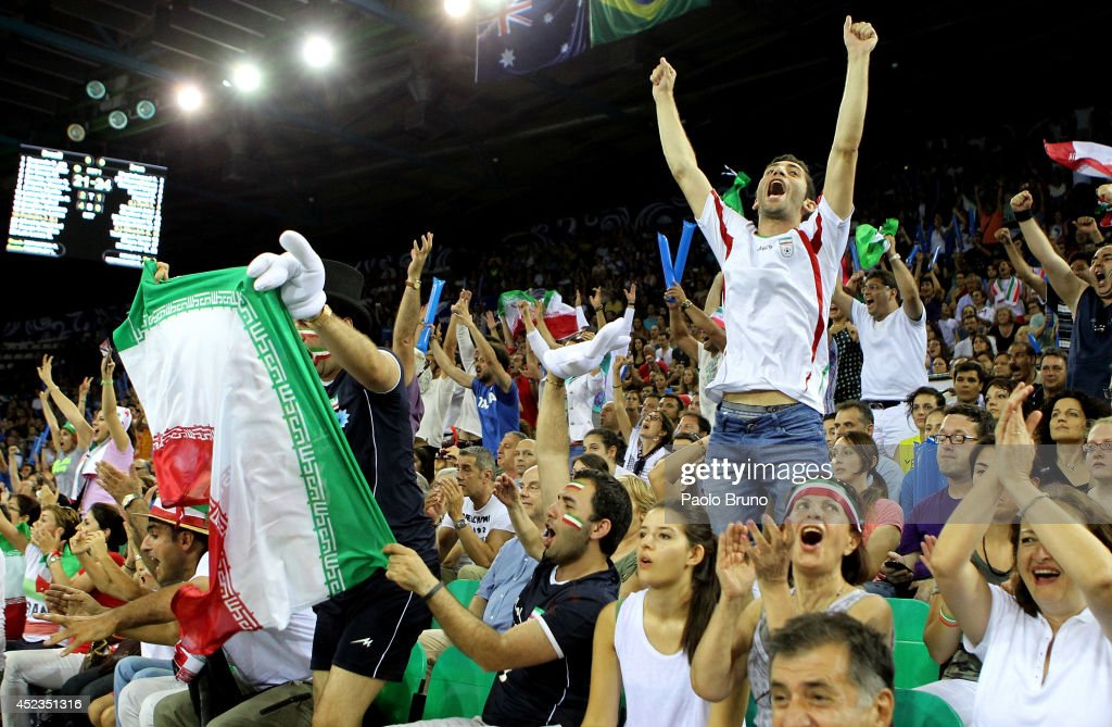 Iran fans support their team during the FIVB World League Final Six match between Brazil and Iran at Mandela Forum on July 18, 2014 in Florence, Italy.