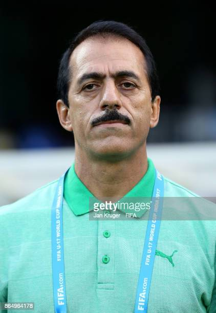 Iran manager Abbas Chamanian looks on during the FIFA U17 World Cup India 2017 Quarter Final match between Spain and Iran at Jawaharlal Nehru...