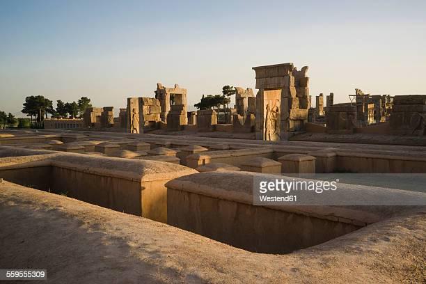 Iran, Persepolis, Palace of Hundred Columns at sunset