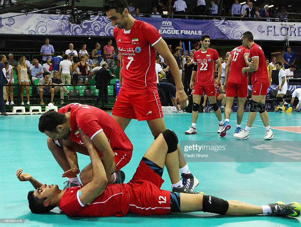 Iran players celebrate during the FIVB World League Final Six match between Brazil and Iran at Mandela Forum on July 18, 2014 in Florence, Italy.