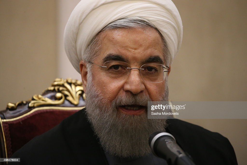Iran President <a gi-track='captionPersonalityLinkClicked' href=/galleries/search?phrase=Hassan+Rouhani+-+Politiker&family=editorial&specificpeople=641593 ng-click='$event.stopPropagation()'>Hassan Rouhani</a> attends a joint press conference with Russian President Vladimir Putin after the end of the third Gas Exporting Countries Forum gas summit November 23, 2015 in Tehran, Iran. The summit is devoted to the assessment of the current situation on the world gas market as well as to the development prospects of the field.