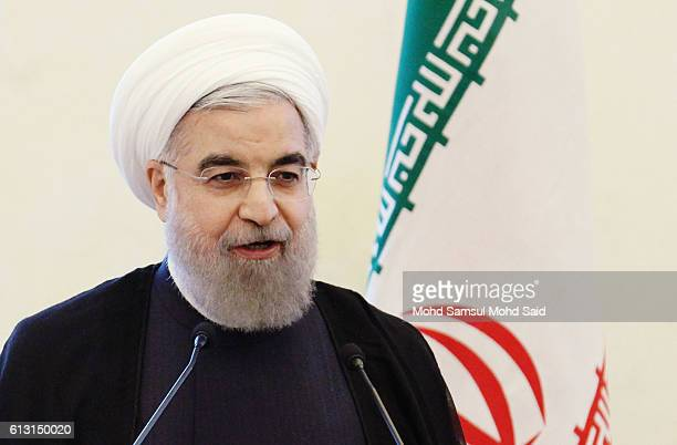Iran President Hassan Rouhani give a speech inside the Malaysia Prime Minister Najib Razak office during official visit on October 7 2016 in...