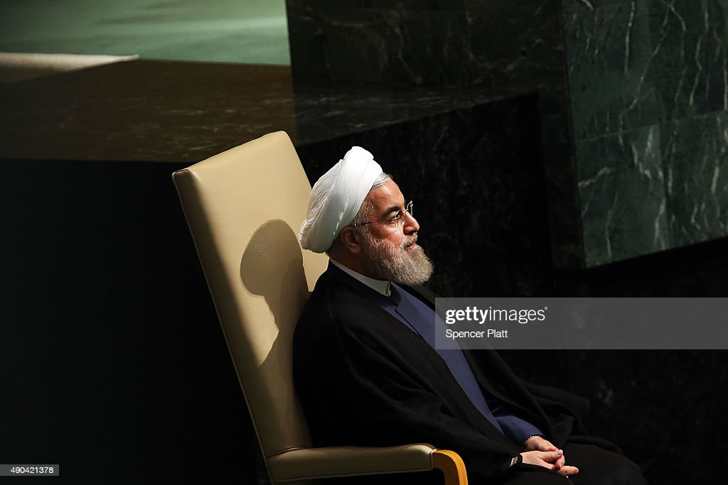 Iran President <a gi-track='captionPersonalityLinkClicked' href=/galleries/search?phrase=Hassan+Rouhani+-+Politico&family=editorial&specificpeople=641593 ng-click='$event.stopPropagation()'>Hassan Rouhani</a> sits before addressing the United Nations General Assembly at U.N. headquarters on September 28, 2015 in New York City. The ongoing war in Syria and the refugee crisis it has spawned are playing a backdrop to this years 70th annual General Assembly meeting of global leaders.