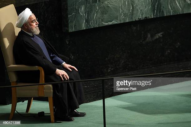 Iran President Hassan Rouhani sits before addressing the United Nations General Assembly at UN headquarters on September 28 2015 in New York City The...