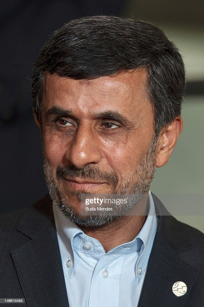 Iran President <a gi-track='captionPersonalityLinkClicked' href=/galleries/search?phrase=Mahmoud+Ahmadinejad&family=editorial&specificpeople=221337 ng-click='$event.stopPropagation()'>Mahmoud Ahmadinejad</a>, before the group photo at the United Nations Conference on Sustainable Development on June 20, 2012 in Rio de Janeiro, Brazil.