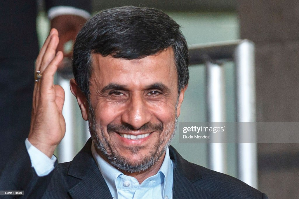 Iran President <a gi-track='captionPersonalityLinkClicked' href=/galleries/search?phrase=Mahmoud+Ahmadinejad&family=editorial&specificpeople=221337 ng-click='$event.stopPropagation()'>Mahmoud Ahmadinejad</a>,before the group photo at the United Nations Conference on Sustainable Development on June 20, 2012 in Rio de Janeiro, Brazil.