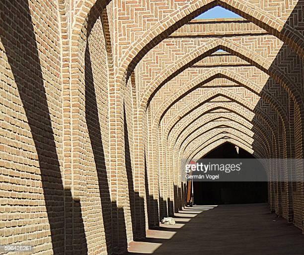 Iran Silk Road bazaar alley brick arches & shadows