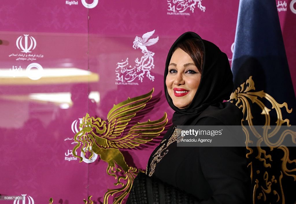 Iranian actresses Behnoosh Bakhtiari poses as she arrive for a screening during the 34th edition of the Fajr International Film Festival at Milad Tower in Tehran, Iran on February 07, 2015.