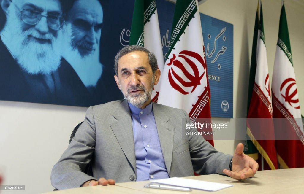 Iranian advisor to the supreme leader Ayatollah Ali Khamenei and hopeful conservative presidential candidate Ali Akbar Velayati speaks to the...