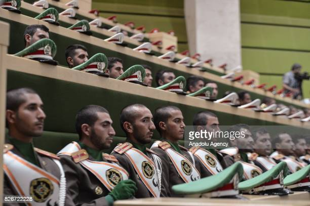 Iranian army marching band is seen during the President of Iran Hassan Rouhani's swearing in ceremony for his second fouryear term of presidency at...