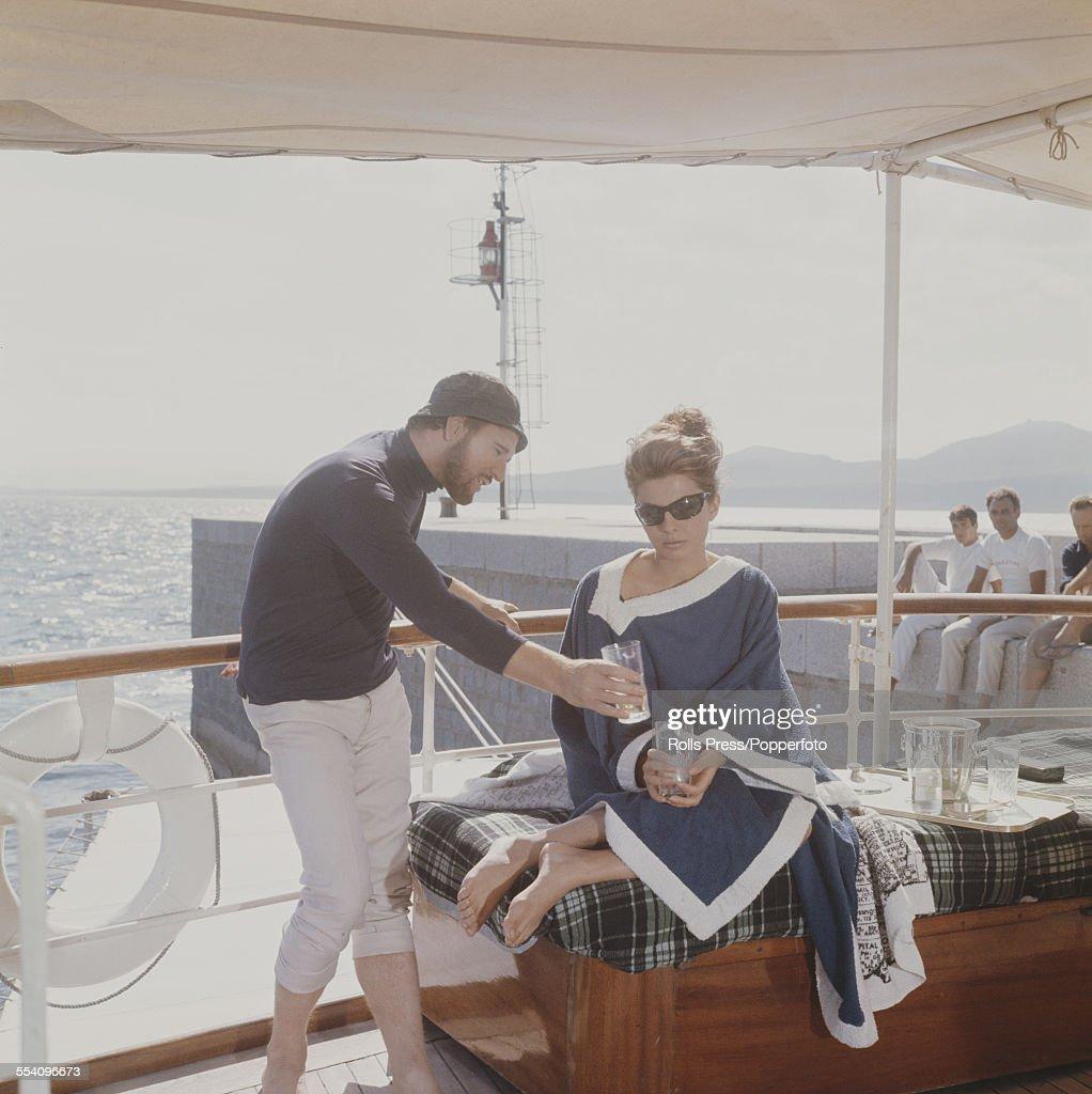 Iranian born actress and second wife of the Shah of Iran Soraya EsfandiaryBakhtiari with actor Richard Harris who play the roles of Linda and Robert...