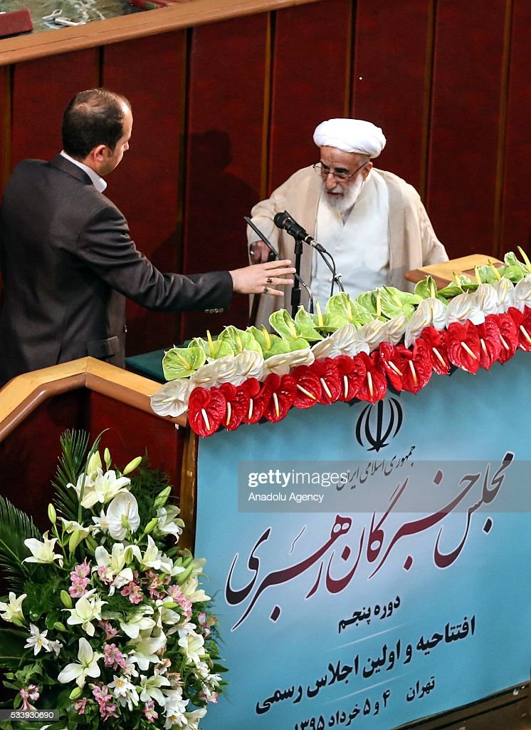 Iranian Chairman of the Assembly of Experts Ayatollah Ahmad Jannati speaks during inaugural meeting of the Assembly of Experts in Tehran, Iran on May 24, 2016. Jannati won 51 votes in the 88-seat Assembly and would serve as speaker for the next two years.