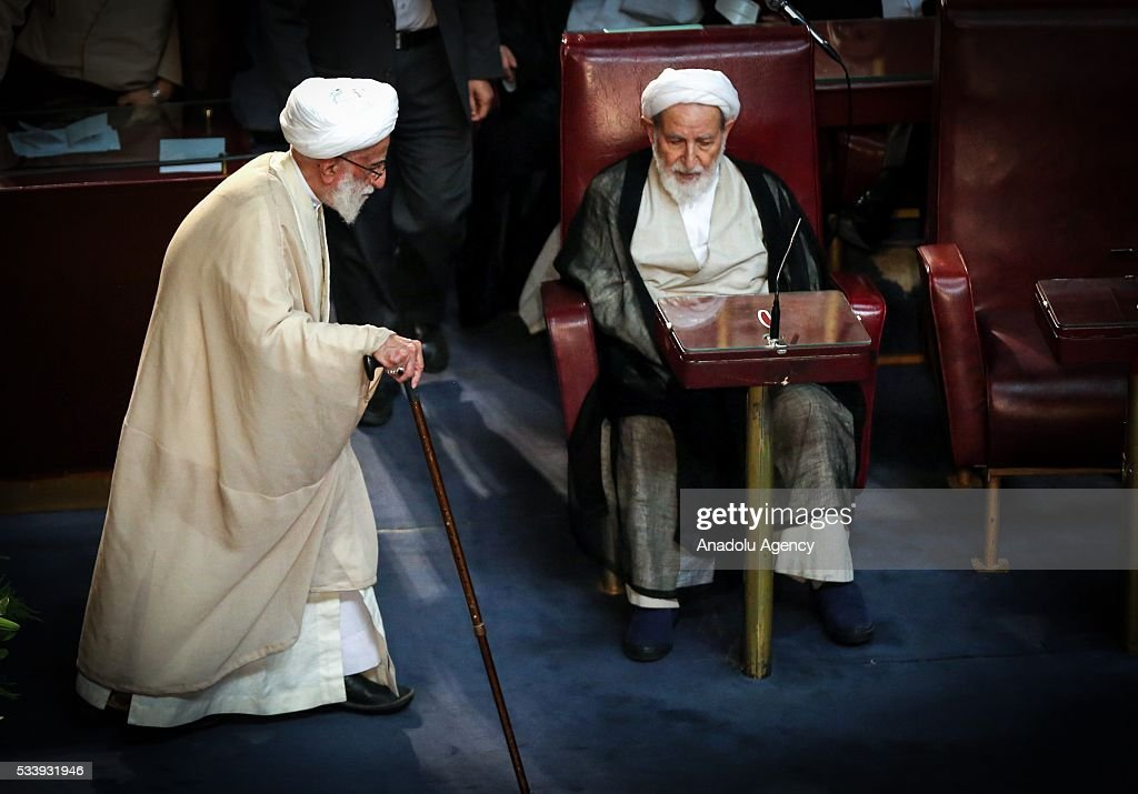 Iranian Chairman of the Assembly of Experts Ayatollah Ahmad Jannati (L) is seen during the Assembly of Experts in Tehran, Iran on May 24, 2016. Jannati won 51 votes in the 88-seat Assembly and would serve as speaker for the next two years.