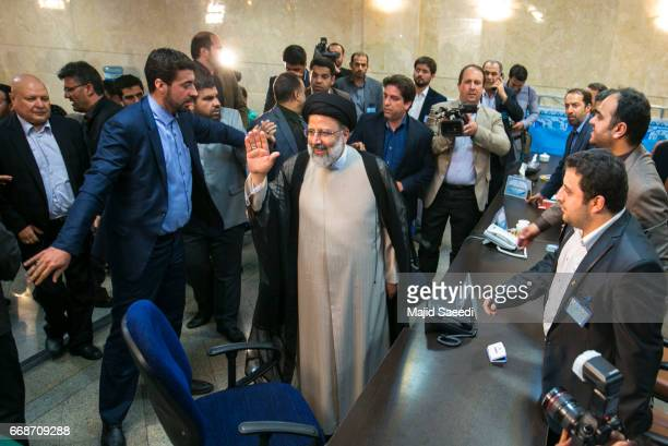 Iranian cleric and head of the Imam Reza charitable foundation Ebrahim Raisi arrives at the Interior Ministry building on April 14 2017 in Tehran...