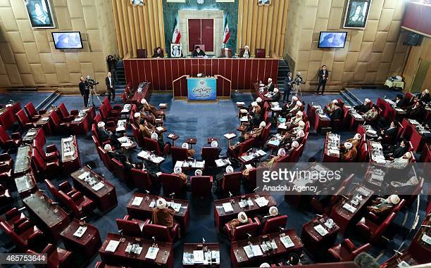 Iranian clerics and representatives attend the Iranian Assembly of Experts chairman election at the parliament in Tehran Iran on March 10 2015...