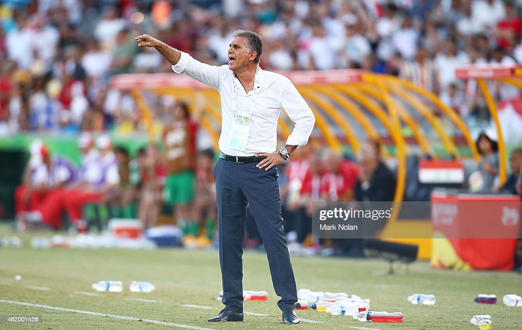 Iranian coach <a gi-track='captionPersonalityLinkClicked' href=/galleries/search?phrase=Carlos+Queiroz&family=editorial&specificpeople=211586 ng-click='$event.stopPropagation()'>Carlos Queiroz</a> shouts instructions to players during the 2015 Asian Cup match between Iran and Iraq at Canberra Stadium on January 23, 2015 in Canberra, Australia.