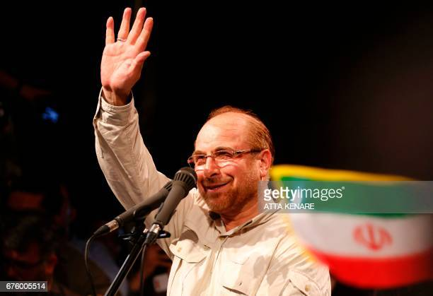 Iranian conservative presidential candidate Mohammad Bagher Ghalibaf greets his supporters during a campaign rally in the capital Tehran on May 2...