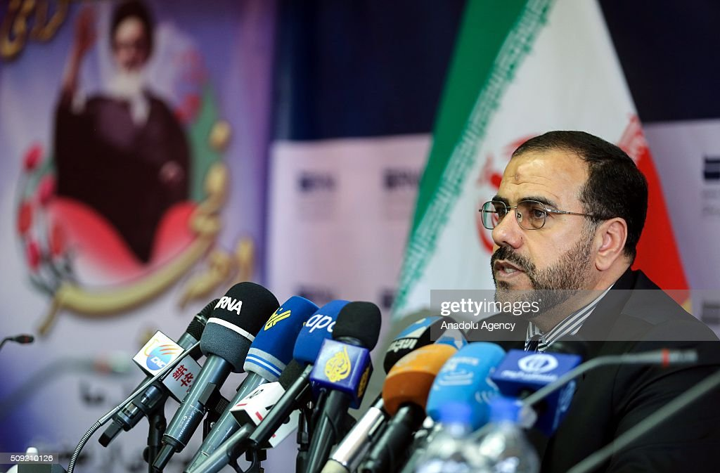 Iranian Deputy Interior Minister Hussain Ali Amiri delivers a speech on the next elections for the 10th term of the Iranian parliament and the 5th term of the Assembly of Experts which will be held simultaneously on February 26, in Tehran, Iran on February 9, 2016.