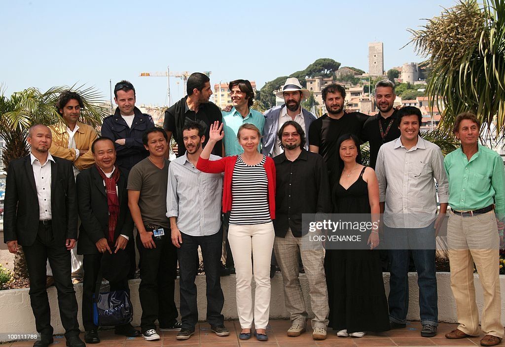 Iranian director Massoud Bakhshi and Bulgarian director Javor Gardev, guest, guest, Spanish director Jaime Rosales, Turkish director Hüseyin Karabey and Serbian Srdan Golubovic (from bottom left) director Edwin, Cambodian director Rihty Panh, Japanese director Shinji Aoyama, Argentinian director Pablo Fendrik, Polish director Urszula Antoniak, Hungarian director Karoly Ujj Meszaros, Taiwanese director Show-Chun Lee and Venezuelian director Sierra Salles pose during the photocall of L'Atelier gathering film directors at the 63rd Cannes Film Festival on May 21, 2010 in Cannes.