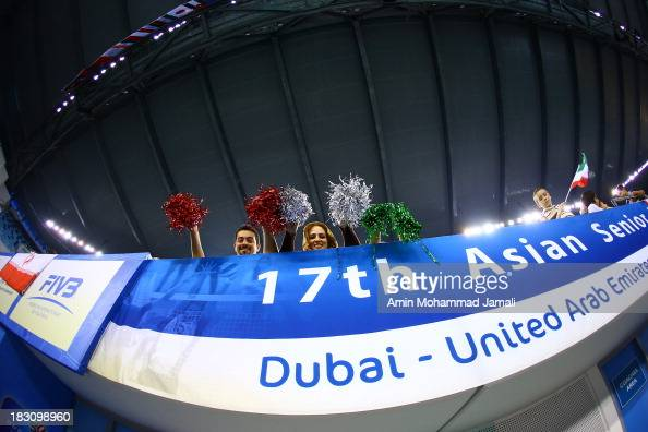 Iranian fans during 17th Asian Men's Volleyball Championship between Iran And Lebanon on October 4 2013 in Dubai United Arab Emirates