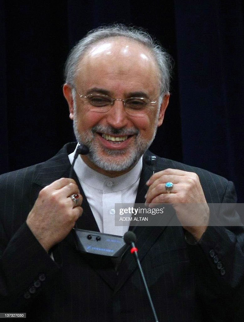 Iranian Foreign Minister <a gi-track='captionPersonalityLinkClicked' href=/galleries/search?phrase=Ali+Akbar+Salehi&family=editorial&specificpeople=3125551 ng-click='$event.stopPropagation()'>Ali Akbar Salehi</a> smiles during a joint press conference with his Turkish counterpart following their talks in Ankara on January 19, 2012. Salehi on January 19 denied Tehran had ever tried to close the Strait of Hormuz, the vital shipping route at the centre of increasing international tension.