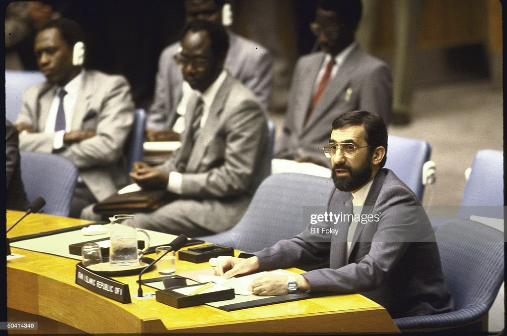 Iranian Foreign Minister Ali Akbar Velayati speaking during special session of UN Security Council regarding US downing of Iran Air flight 655