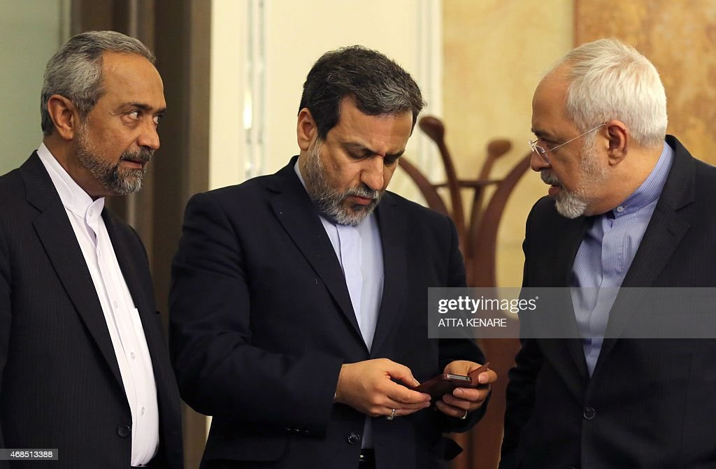 Iranian Foreign Minister Javad Zarif deputy Foreign Minister and chief nuclear negotiator Abbas Araghchi and deputy Foreign Minister for European and...