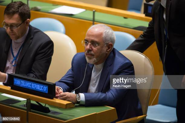 Iranian Foreign Minister Javad Zarif takes his seat during the UN General Assembly at the United Nations on September 20 2017 in New York New York