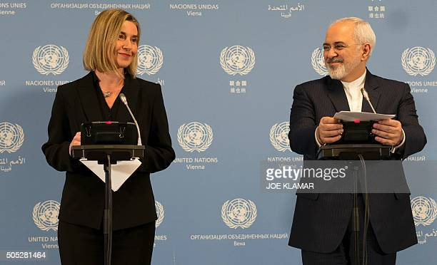 Iranian Foreign Minister Mohammad Javad Zarif and EU foreign policy chief Federica Mogherini hold a joint press conference during the E3/EU3 and Iran...