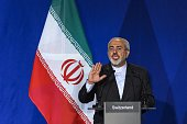 Iranian Foreign Minister Mohammad Javad Zarif gestures gestures as he speaks during a press conference at the Swiss Federal Institute of Technology...