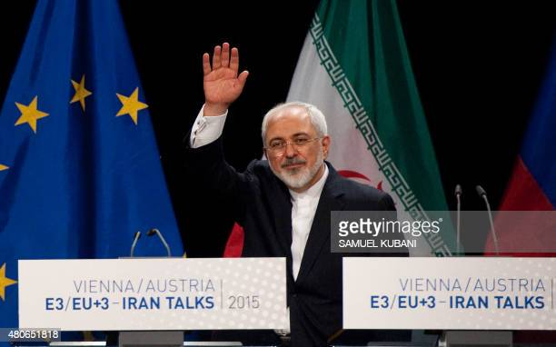 Iranian Foreign Minister Mohammad Javad Zarif leaves a final press conference of Iran nuclear talks in Vienna Austria on July 14 2015 Major powers...