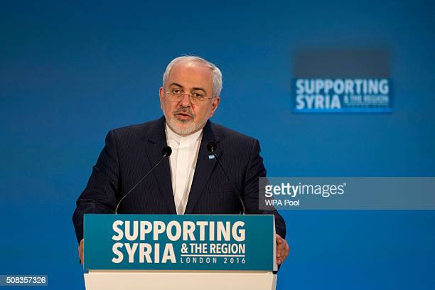 Iranian Foreign Minister Mohammad Javad Zarif makes a pledge during the second cohost chaired thematic pledging session for jobs and economic...