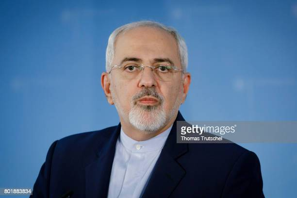 Iranian Foreign Minister Mohammad Javad Zarif speaks to the media on June 27 2017 in Berlin Germany