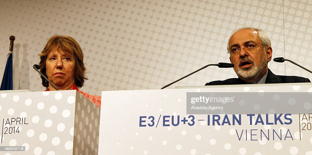 Iranian Foreign Ministry, Muhammed Javad Zarif (R) and EU High Representative for Foreign Affairs, Catherine Ashton (L) attend a press conference at the third round of nuclear talks in Vienna, Austria on April 9, 2014. The talks include representatives from Iran and the P5+1 group (US, Russia, China, France and the UK plus Germany), headed by EU High Representative for Foreign Affairs, Catherine Ashton and Iranian Foreign Ministry, Muhammed Javad Zarif.