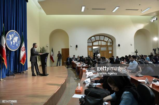 Iranian Foreign Ministry spokesman Bahram Ghasemi holds a press conference at the Foreign Ministry building in Tehran Iran on July 24 2017
