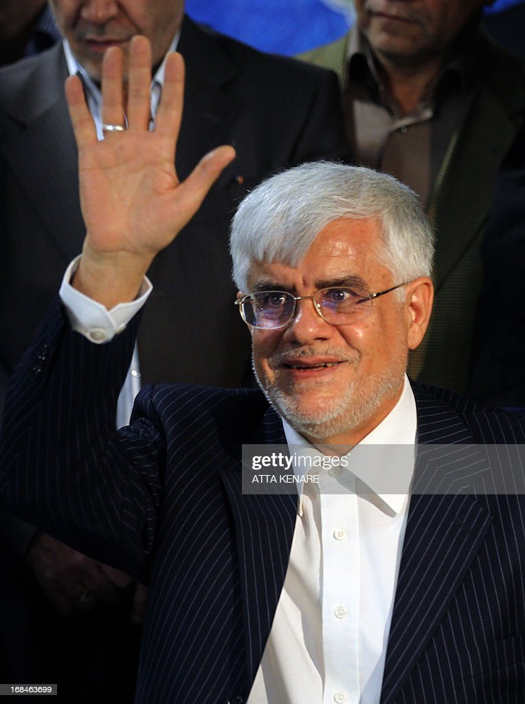 Iranian former Vice-President Mohammad Reza Aref waves after he registered his candidacy for the upcoming presidential election at the interior ministry in Tehran on May 10, 2013. Iran began a five-day registration period for candidates in Iran's June 14 presidential election, with a string of conservative hopefuls in the running but with key reformists yet to come forward, media reports said.