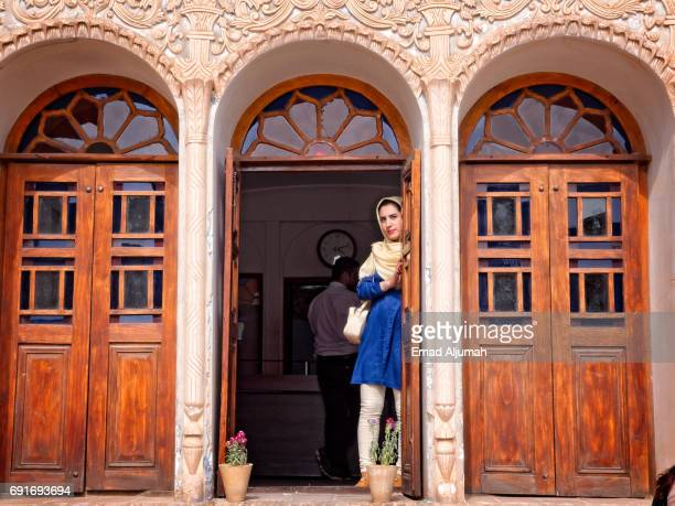 Iranian girl at the Tabātabāei House in Kashan, Iran - April 28, 2017