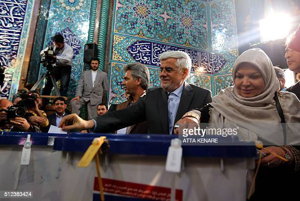 Iranian head of the reformists' coalition list for the parliamentary elections Mohammad Reza Aref and his wife Hamideh Moravej Tafreshi cast their...