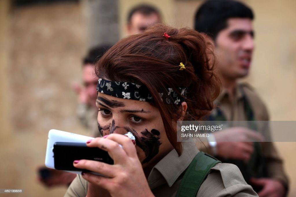 Iranian Kurdish Peshmerga members of the Kurdistan Democratic Party of get ready during routine military exercises in Koya 100 kms north of Arbil the...