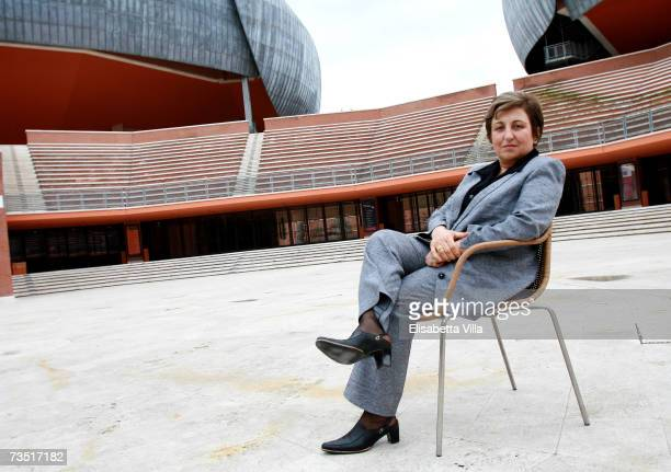Iranian lawyer and 2003 Nobel Peace Prize laureate Shirin Ebadi poses for a portrait shot at Auditorium Parco della Musica on March 7 2007 in Rome...