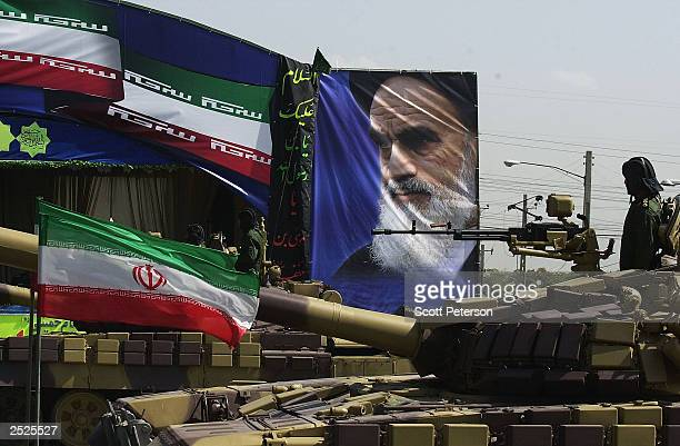iranian military forces launch 'Sacred Defense Week' with a show of force south of Tehran on September 22 2003 in Tehran Iran President Mohammad...