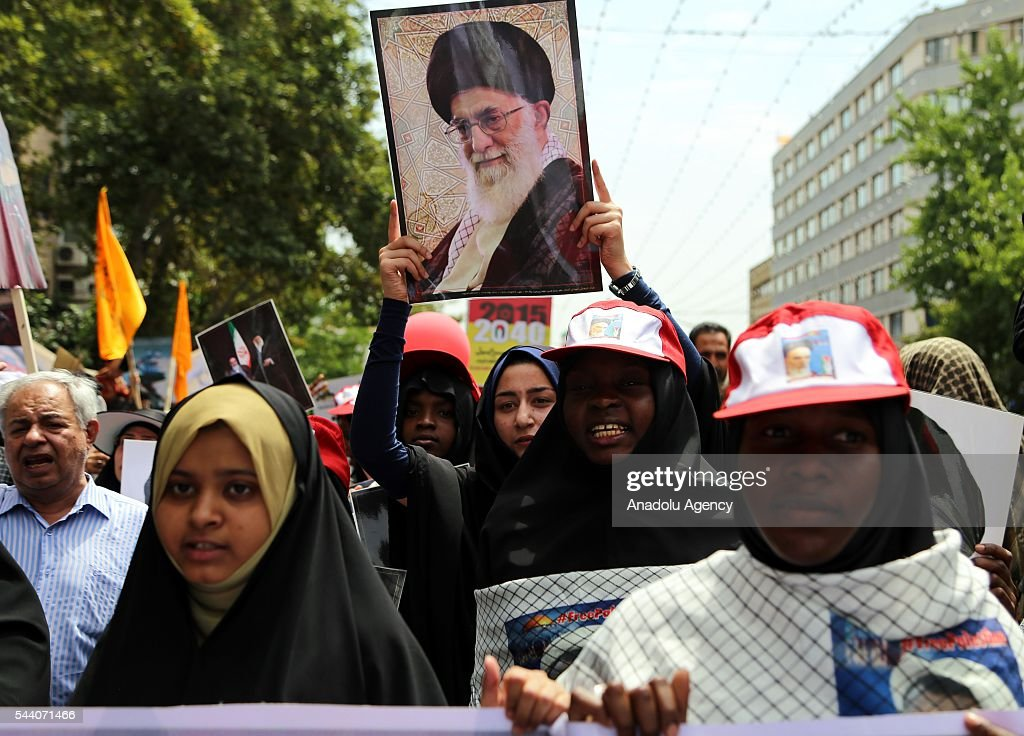 Iranian Muslims attend a rally to mark the International Quds Day on July 01, 2016 in Tehran, Iran on July 1, 2016.