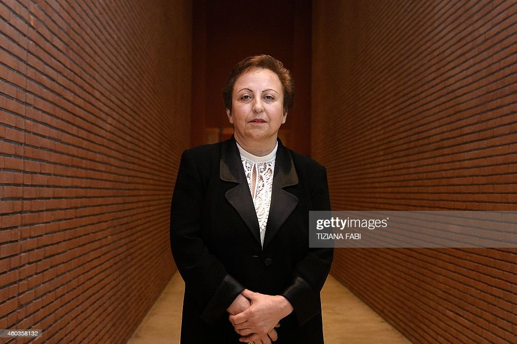 Iranian Nobel Peace laureate <a gi-track='captionPersonalityLinkClicked' href=/galleries/search?phrase=Shirin+Ebadi&family=editorial&specificpeople=563922 ng-click='$event.stopPropagation()'>Shirin Ebadi</a> poses on December 12, 2014 during the 14th World Summit of Nobel Peace Laureates in Rome. Each year since 1999, the Summit is attended by Nobel Peace Prize Laureates and prominent global figures, who are active in the social, scientific, political and cultural areas.