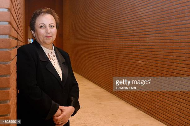 Iranian Nobel Peace laureate Shirin Ebadi poses on December 12 2014 during the 14th World Summit of Nobel Peace Laureates in Rome Each year since...